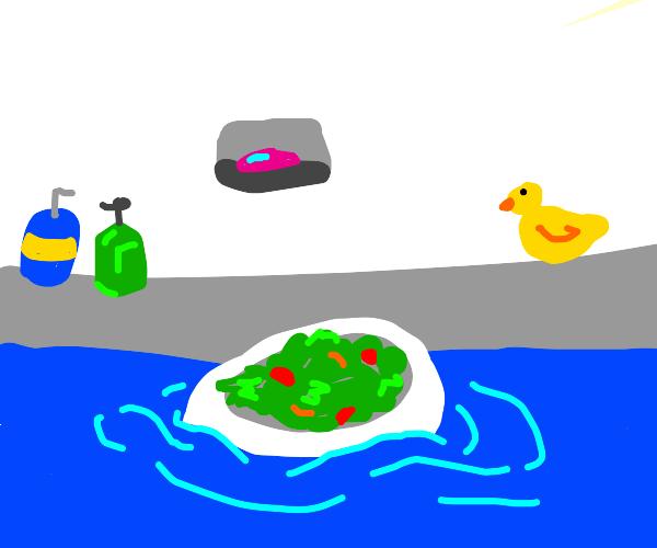 Happy salad takes a bath