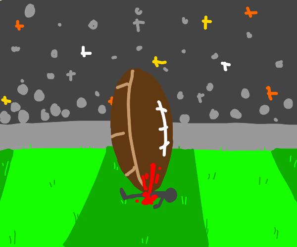 giant american football kills man