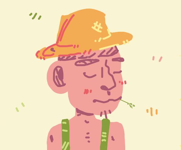 Kawaii farmer with a straw hat