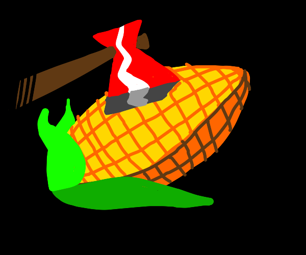 Men take hatchets to innocent corn