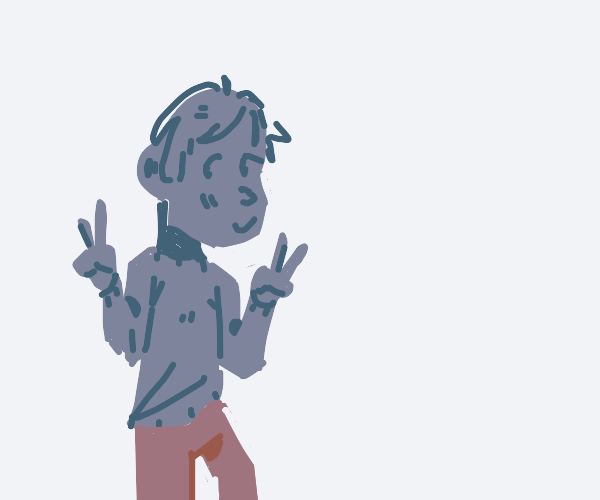Blue person gives double peace sign