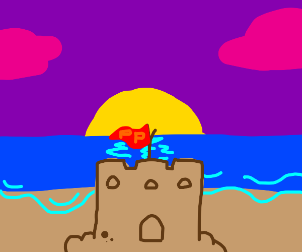 Sand castle with pp flag