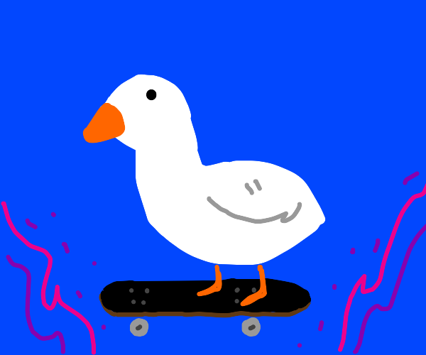 Cool white goose on a skateboard