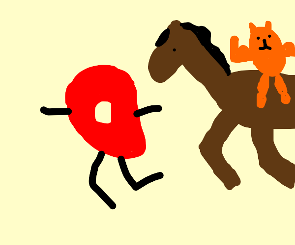 Buff cat man is so enticed to chase the red d