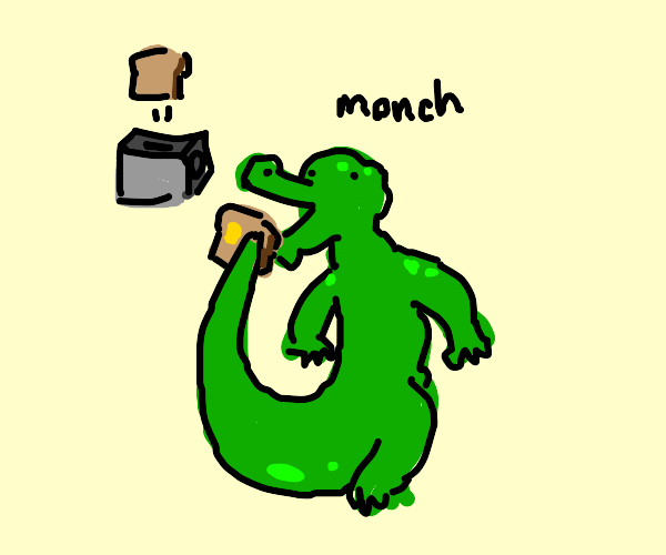 alligator eats toast with his tail