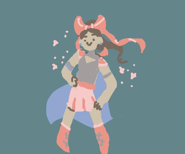 Anime girl, blue cape & ribbon in her hair
