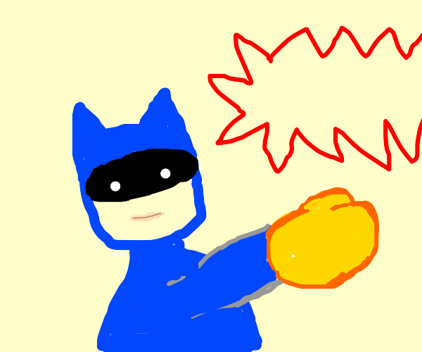 Batman rocks yellow boxing gloves
