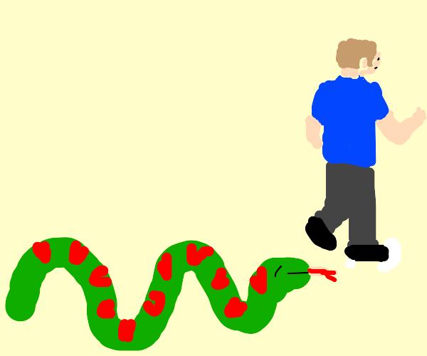 man runs from snake