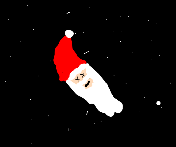 Santa's decapitated head floating in space