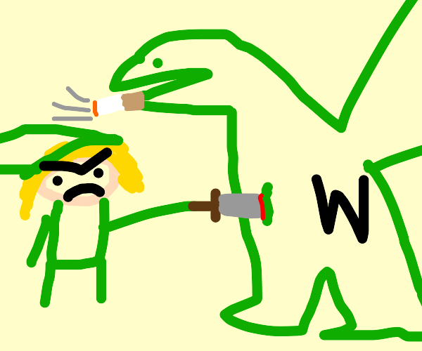 Link stabs a dragon bc he's smoking
