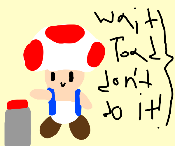 Toad about to push a big red button