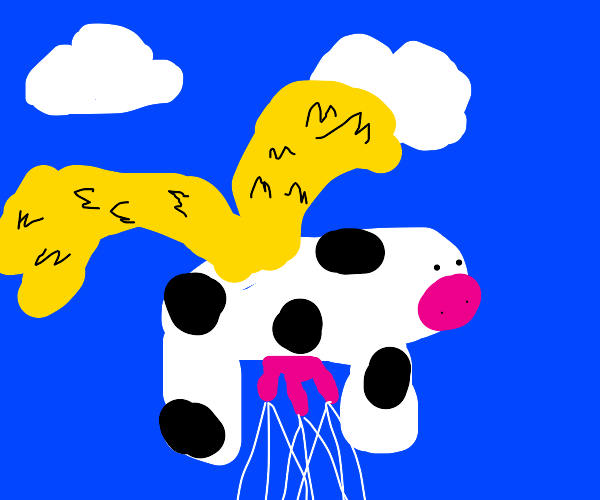 Milking Angel Cow Flying with Golden Wings