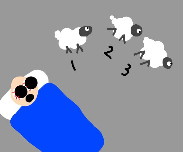 Counting sheep keeps guy awake