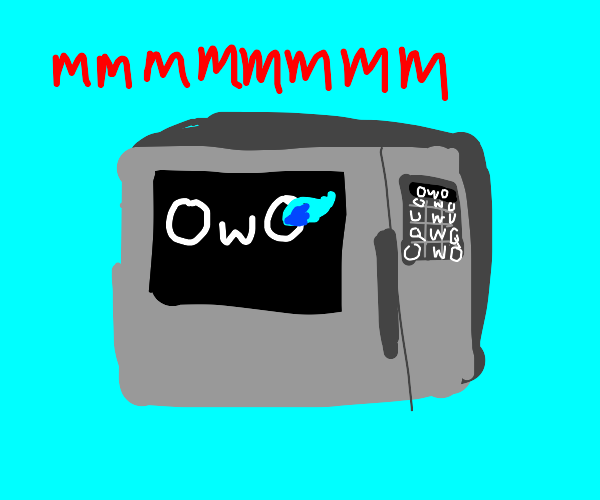 microwave with owo face and glowing sans eye