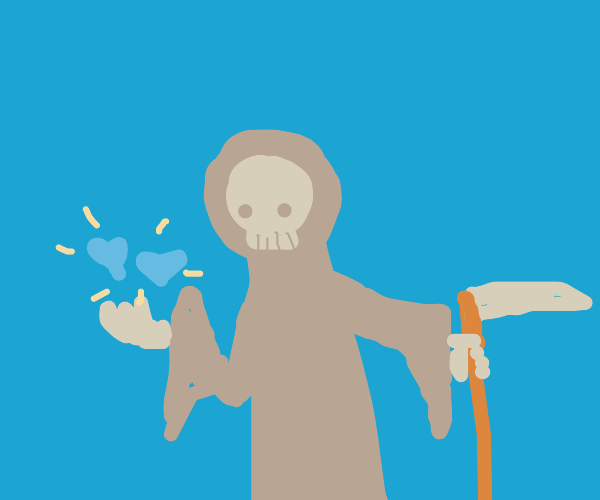 The Grim Reaper with hearts