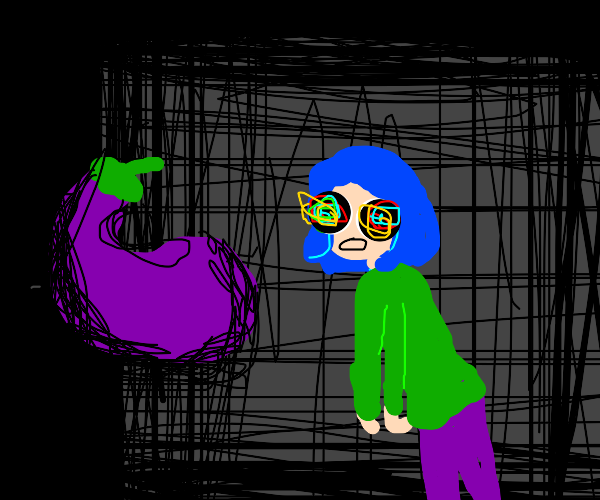 Girl is mesmerized by eggplant