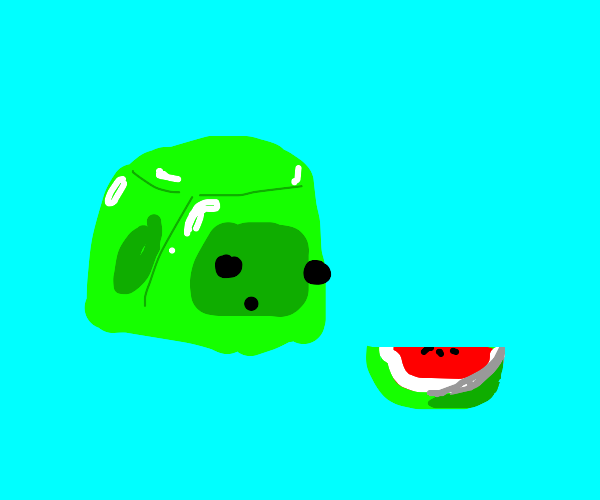 Slime cube staring at a watermelon