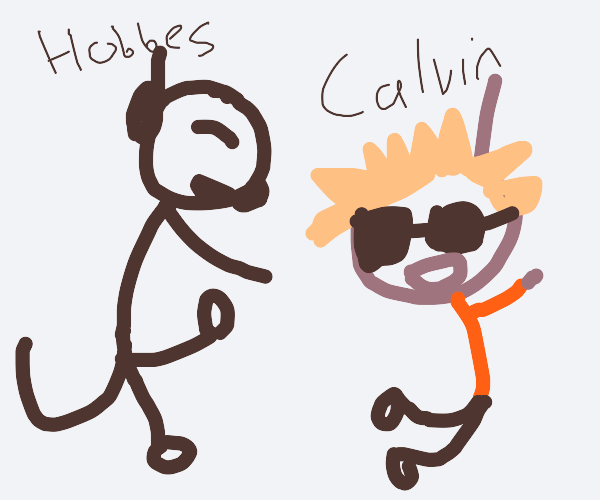 A Stickman Doing The Calvin and Hobbes Dance