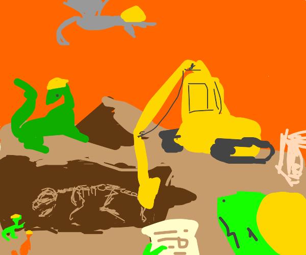 Dinosaur excavates Dinosaur bones