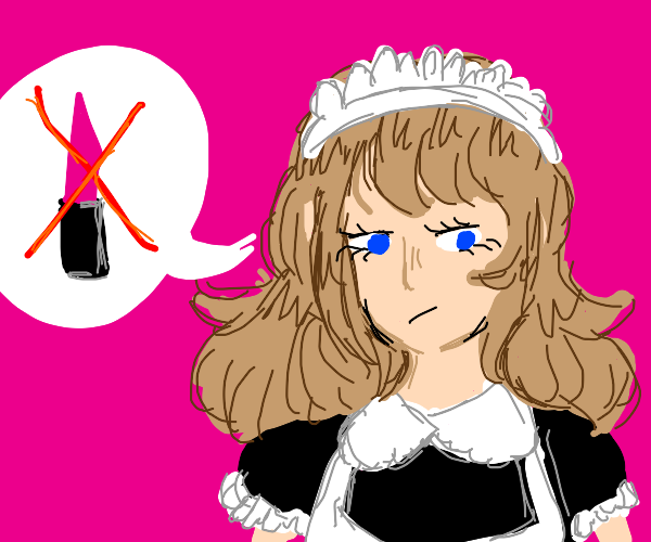 Anime maid doesn't like her lipstick.