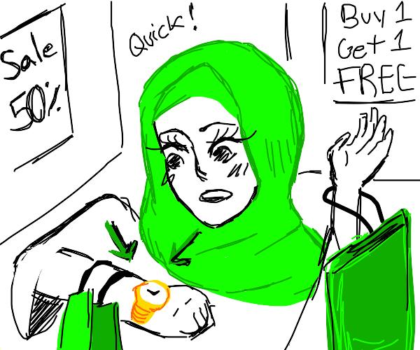 Girl doing speedy shopping trip