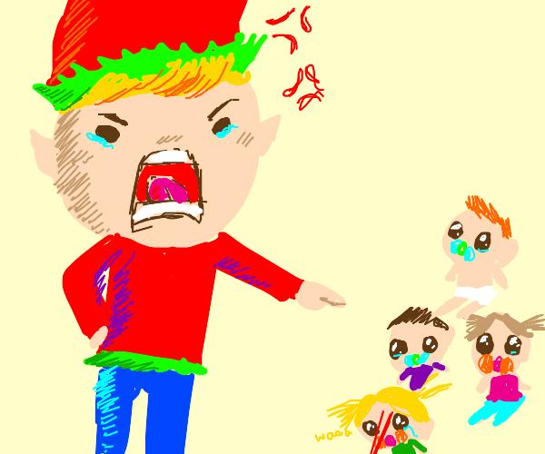 massive sad elf intimidates young children