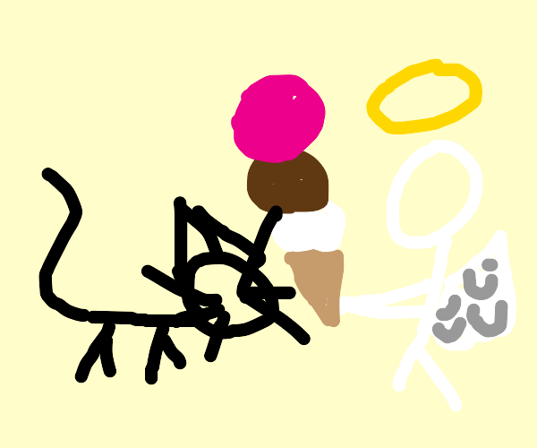 angel gives ice cream to a rabbit