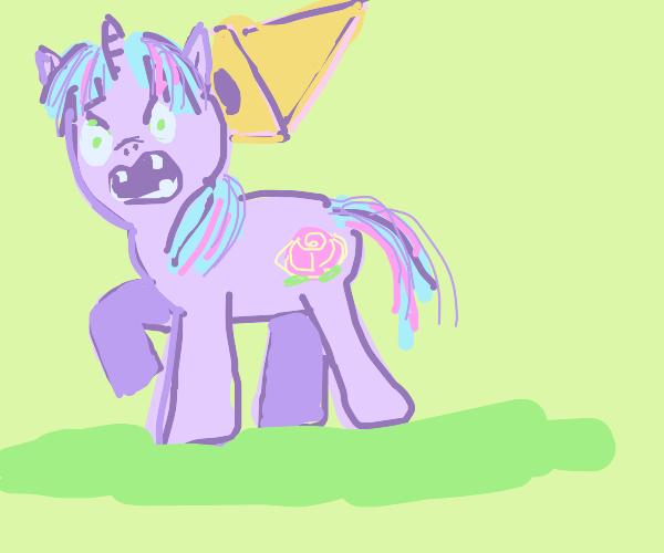 purple zombie pony with a rose tattoo