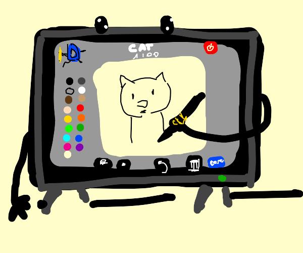 a tv playing drawception