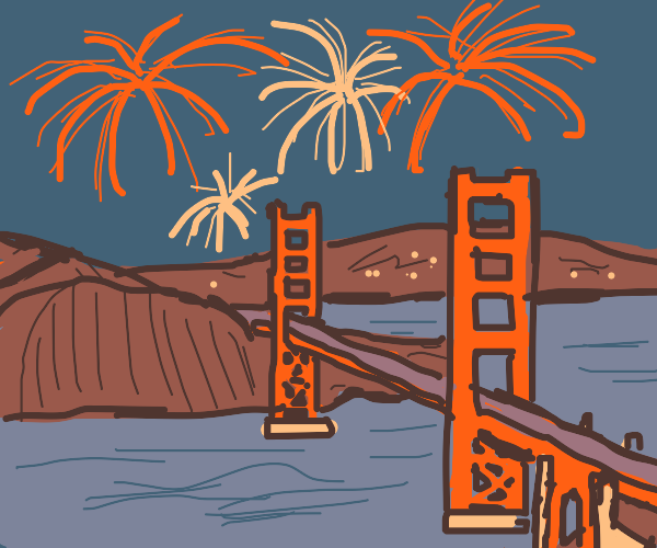 Fireworks over Golden Gate Bridge