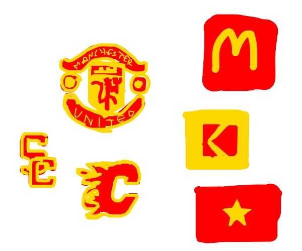various red and yellow emblems & logos
