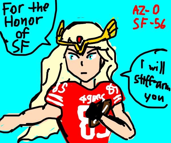 Anime girl is 49ers quarterback