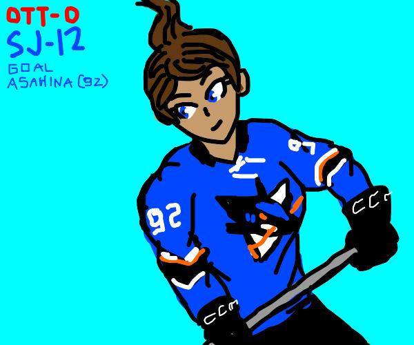 Aoi Asahina playing hockey