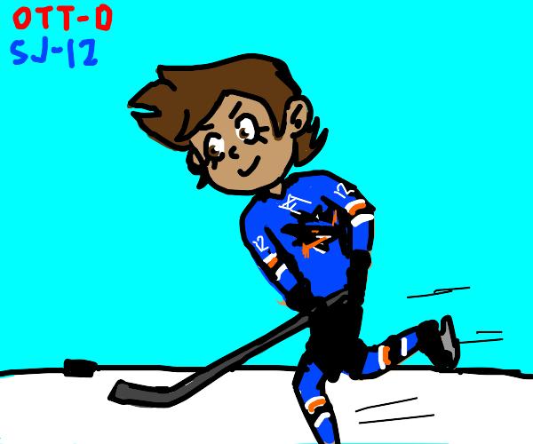 Luz playing hockey