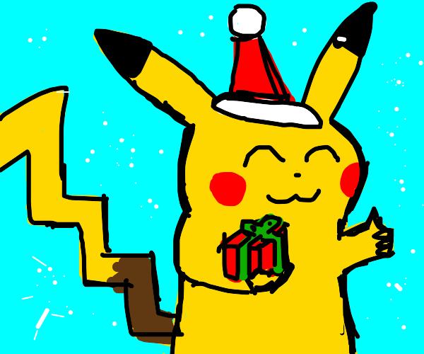 Christmas pikachu offers present