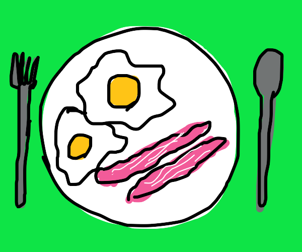 Eggs and bacons on dish
