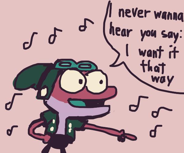 Shark person sings Backstreet Boys