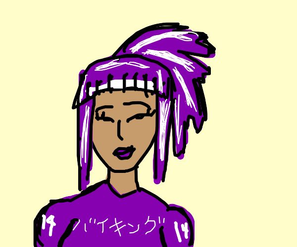girl with purple white hair and purple lips