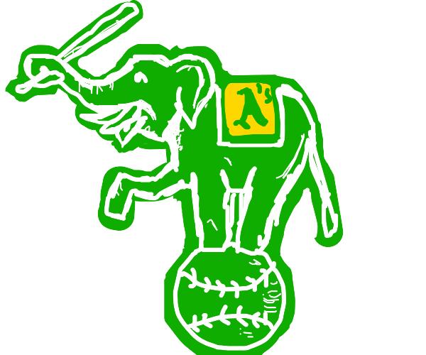 Green elephant misunderstands baseball