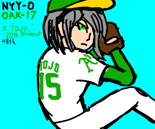Grey haired lady pitches for Oak in baseball
