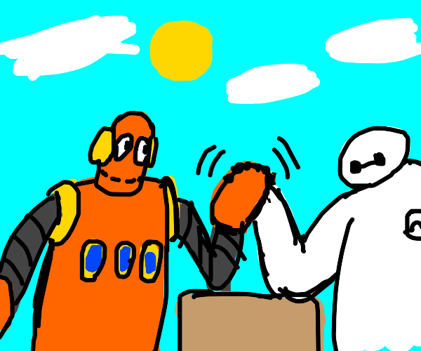 robot from Brain Pop and Baymax arm wrestle