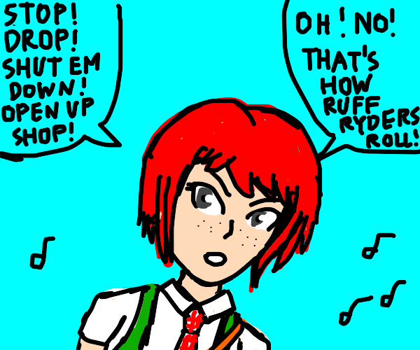 Anime girl singing showtunes