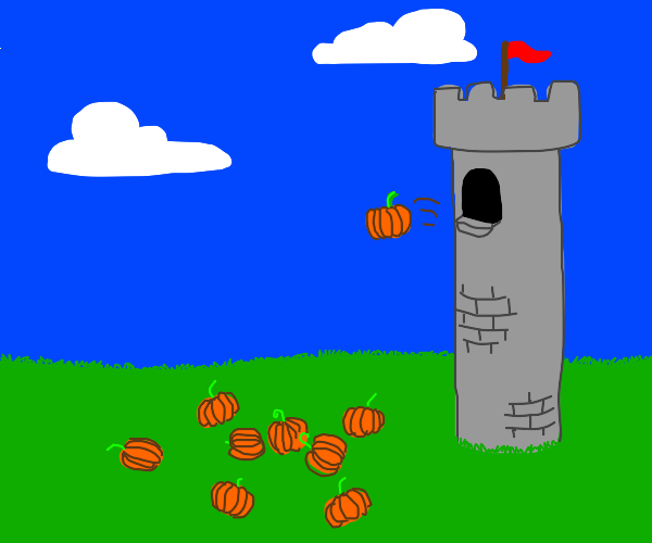 dropping a lot of pumpkins from a tower