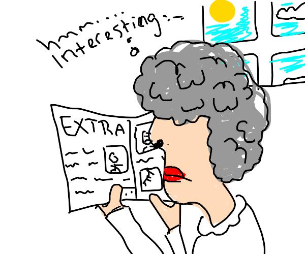 Grandmother reads a newspaper, interrrresting