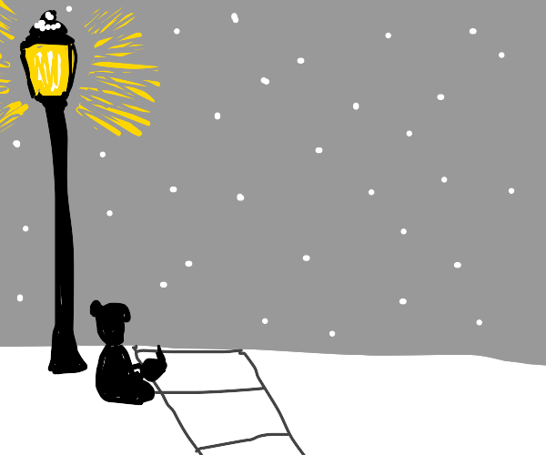 Reading in the light of a street lamp