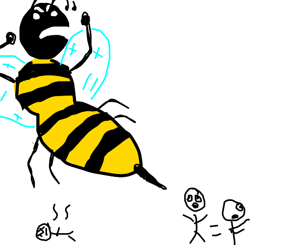 giant bee stings someone