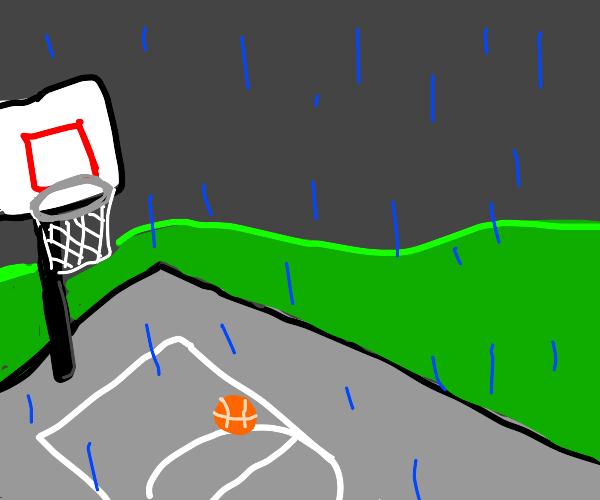 Abandoned basketball court