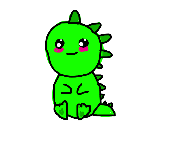 A strange cute green baby Dragon