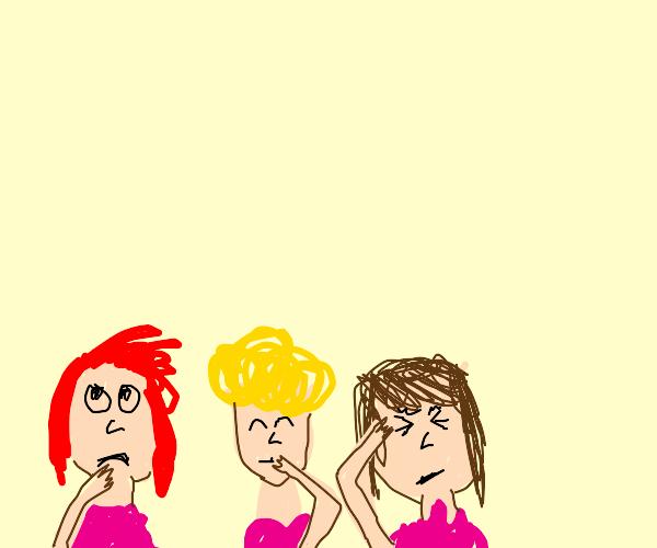 Three girls thinking