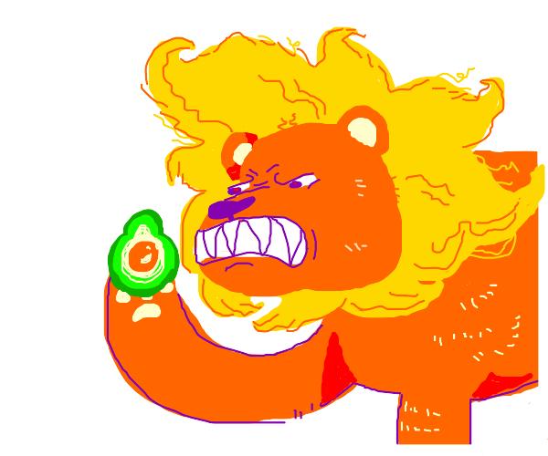 Lion holding an avocado